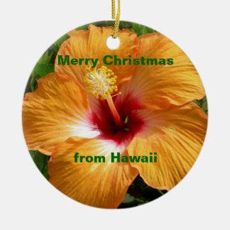 Merry Christmas Hibiscus Ceramic Ornament