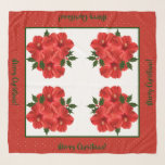 """Merry Christmas Hibiscus Holly Holiday Red & Green Scarf<br><div class=""""desc"""">Merry Christmas Hibiscus Holly Holiday Red & Green Square Chiffon Scarf.  Perfect for the hostess of that Holiday Christmas Party.  Design by Claudine Boerner.</div>"""
