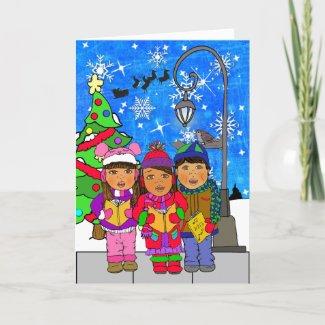 Merry Christmas Hispanic Children Carolers Holiday Card