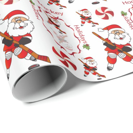 Merry Christmas Hockey Santa Claus Wrapping Paper | Zazzle