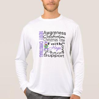 Merry Christmas Hodgkins Lymphoma Ribbon Collage Tee Shirts