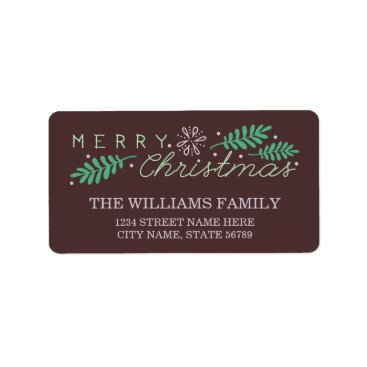 Christmas Themed Merry Christmas Holiday Address Label