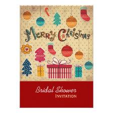 Merry Christmas Holiday Bridal Shower Invitation