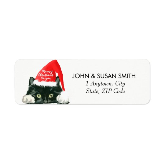merry christmas holiday cat return address labels zazzle com