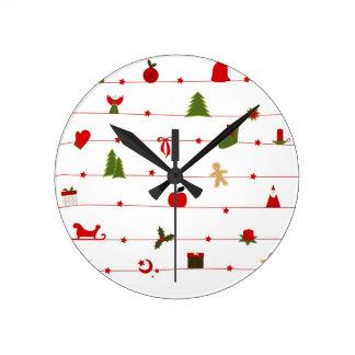 Merry Christmas  Holiday celebrations Santa Clause Round Wall Clock