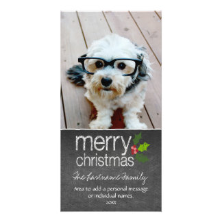 Merry Christmas Holiday Chalkboard Photo Card