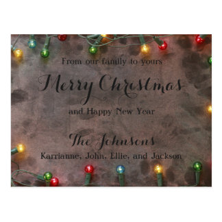 Merry Christmas Holiday Colorful Festive Lights Postcard