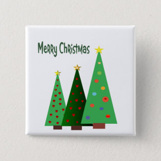 Merry Christmas. Holiday decorated trees Pinback Button