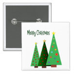 Merry Christmas. Holiday decorated trees Pins
