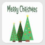 Merry Christmas, holiday decorated trees Square Stickers