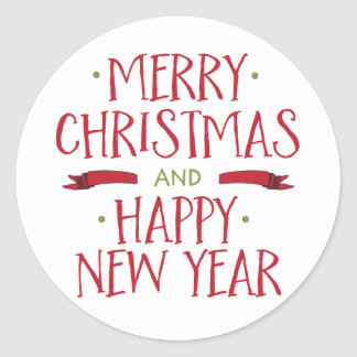 Merry Christmas Holiday Envelope Seal Classic Round Sticker