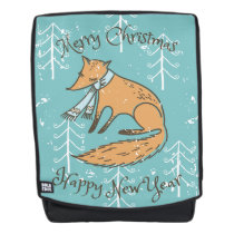Merry Christmas Holiday Fox Cozy Backpack