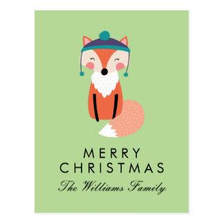 Merry Christmas   Holiday Fox Friend Postcard