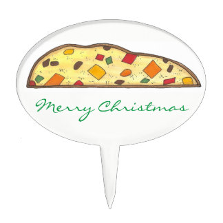 Merry Christmas Holiday Fruit Cake Biscotti Xmas Cake Topper