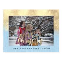 Merry Christmas Holiday Gold Cottage Photo Blue Postcard