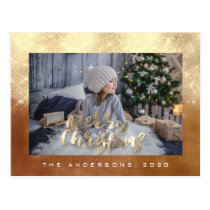 Merry Christmas Holiday Gold Cottage Photo Glitter Postcard