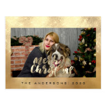 Merry Christmas Holiday Gold Cottage Photo Linen Postcard