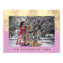 Merry Christmas Holiday Gold Cottage Photo Pink Postcard