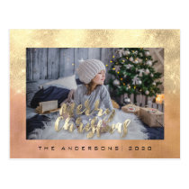 Merry Christmas Holiday Gold Cottage Photo Rose Postcard
