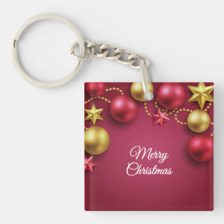 Merry Christmas Holiday Greeting Keychain