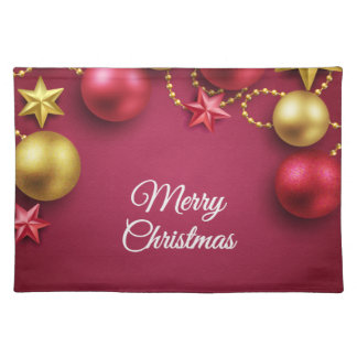 Merry Christmas Holiday Greeting Cloth Placemat