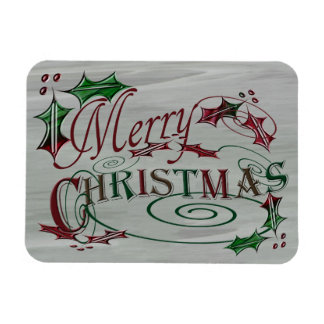 Merry Christmas Holiday Holly Magnet