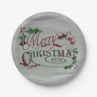 Merry Christmas Holiday Holly Paper Plate
