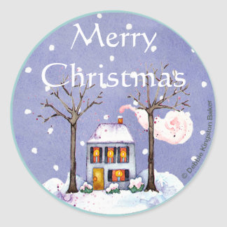 Merry Christmas holiday home Classic Round Sticker
