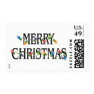 Merry Christmas Holiday Lights Postage