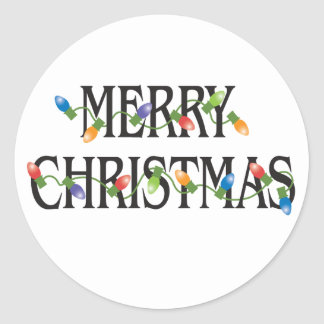 Merry Christmas Holiday Lights Round Sticker
