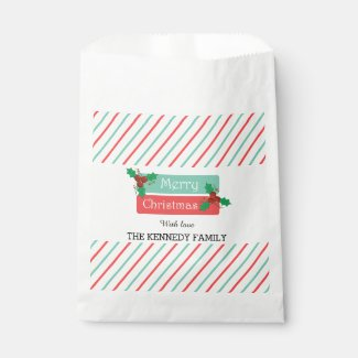 Merry Christmas Holiday Party Holly Berries Stripe Favor Bags
