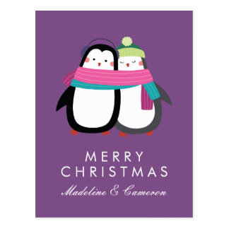 Merry Christmas | Holiday Penguins Postcard