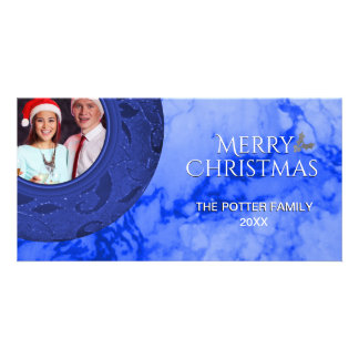 Merry Christmas Holiday Photo Card Blue Marble
