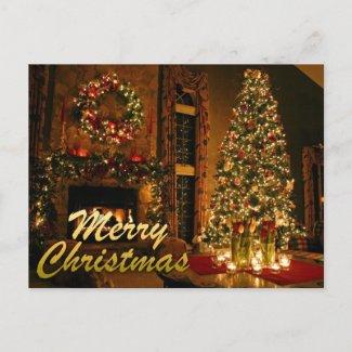 merry christmas holiday postcard