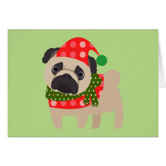 Merry Christmas Holiday Pug Dog Card