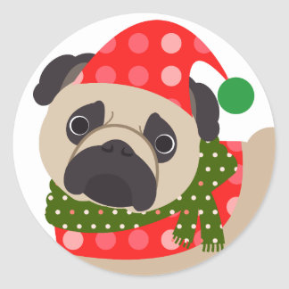 Merry Christmas Holiday Pug Dog Classic Round Sticker