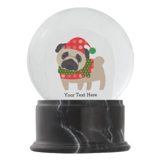 Merry Christmas Holiday Pug Dog Snow Globe