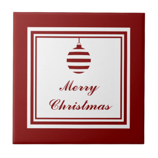 Merry Christmas Holiday Red And White Bauble Tile