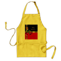Merry Christmas Holiday Red Bells Black Gold Adult Apron