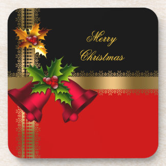 Merry Christmas Holiday Red Bells Black Gold Drink Coaster