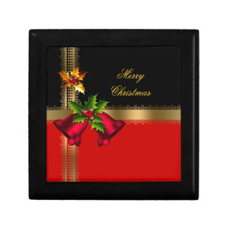 Merry Christmas Holiday Red Bells Black Gold Jewelry Box