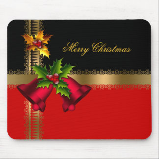 Merry Christmas Holiday Red Bells Black Gold Mouse Pad