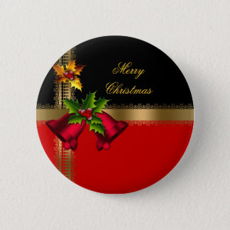 Merry Christmas Holiday Red Bells Black Gold Pinback Button