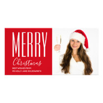 Merry Christmas Holiday Red Personalized Card