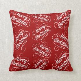 Merry Christmas Holiday Red Seasonal Design Throw Pillow