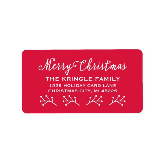 merry christmas holiday return address label zazzle com