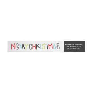 Merry Christmas Holiday Return Address Wrap Label
