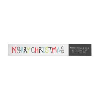 Merry Christmas Holiday Return Address Wrap Label Wraparound Return Address Label