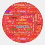 Merry Christmas Holiday Round Sticker