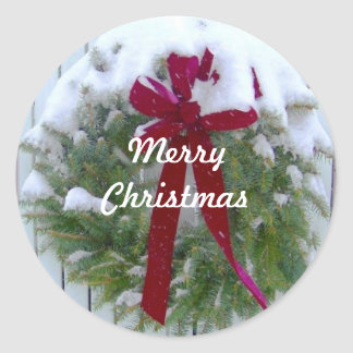 Merry Christmas Holiday Season Card Envelope Seals Classic Round Sticker